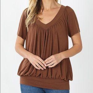 Banded Bottom Brown V Neck Short Sleeve Shirt Plus